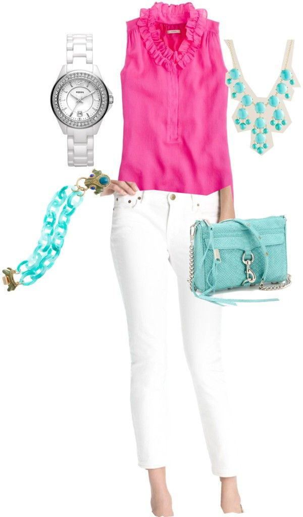 The Pink And Mint Green Compliment Each Other Light Colors Go Great Together Bright Well With Plain White Pants