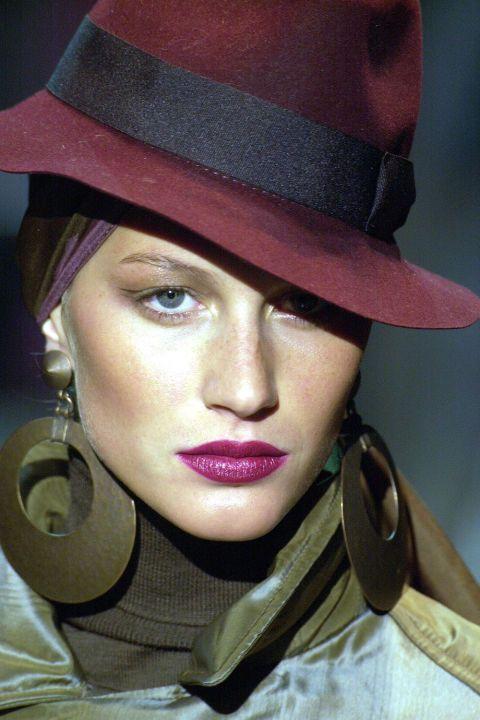 10 best Gisele Beauty looks:Hat Trick;  Jean Paul Gaultier Fall 2001.