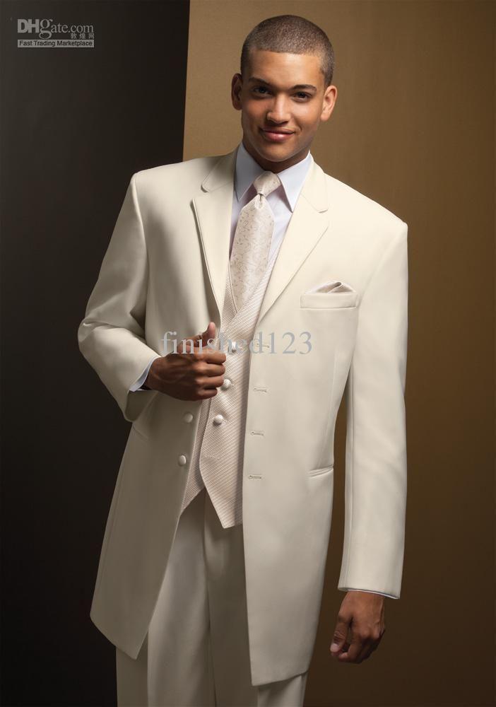 Hot selling Ivory Notch Lapel Groom Tuxedos Groomsmen Men Wedding ...