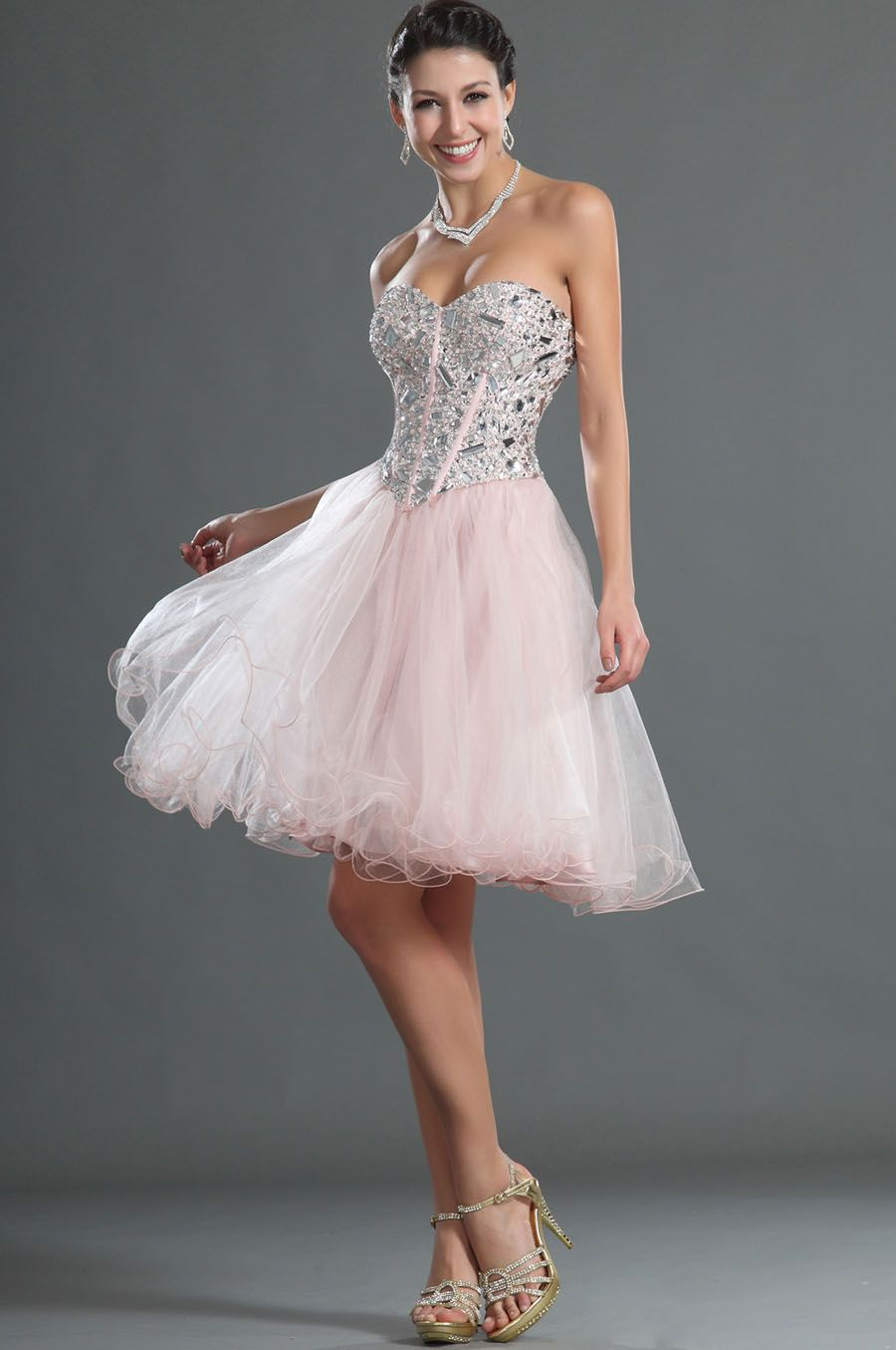 Formal pink dresses for women  blushing pink sweetheart short ball dress  prom dress  Pinterest