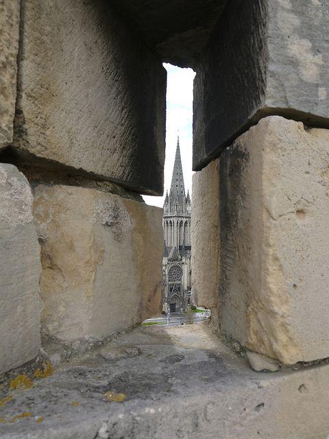 View of the Church of Saint-Pierre from Château de Caen - Caen, Normandie, France