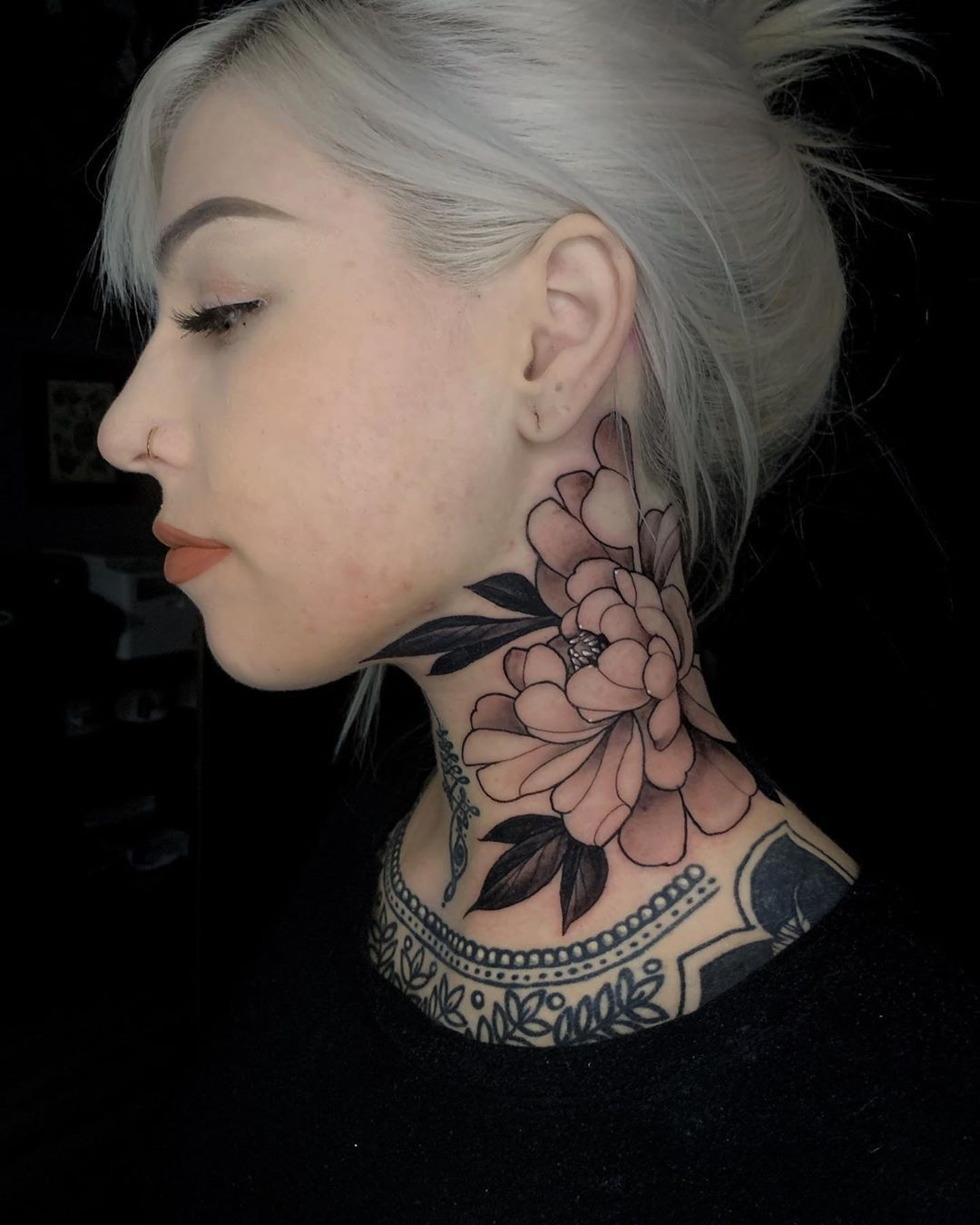 Bler Friedrich On Instagram Peony I Did On Rachael Thank You So Much For Trusting Me Rachael In 2020 Chest Tattoos For Women Flower Neck Tattoo Neck Tattoos Women