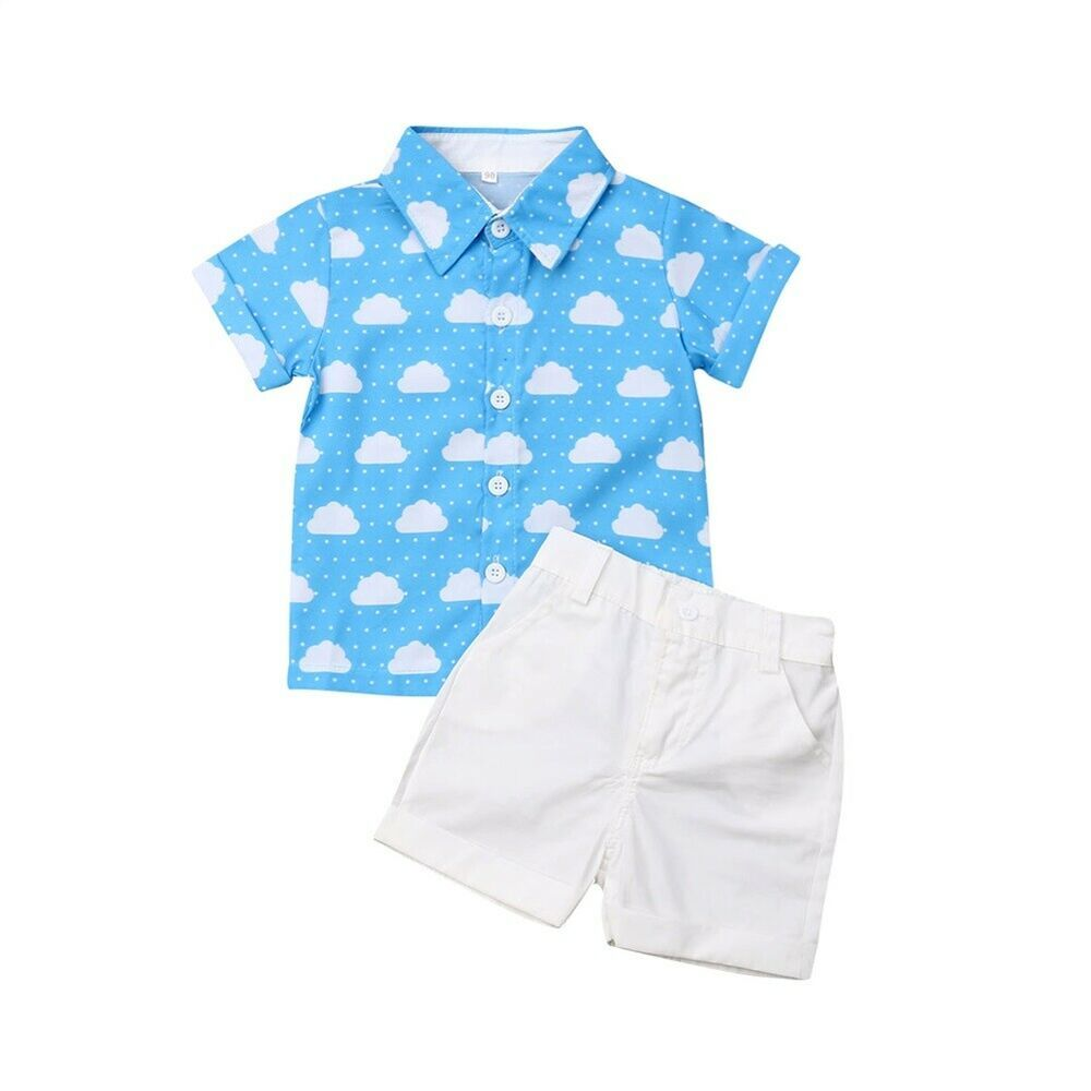 Baby Boys Car Outfit 2 Piece Set T Shirt Dungarees Summer Clothing Gift Size