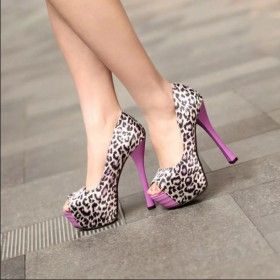 Leopard Peep Toe Heels Platform Shoes from ILoveCuteShoes.com