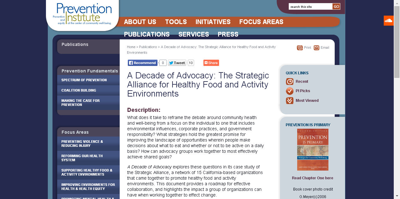 A Decade of Advocacy The Strategic Alliance for Healthy