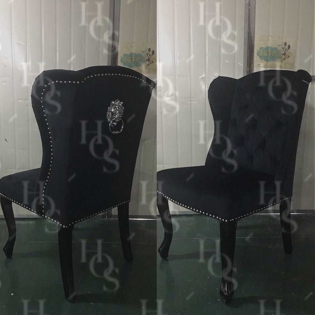 N E W Winged Back Lion Knocker Dining Chairs In Black