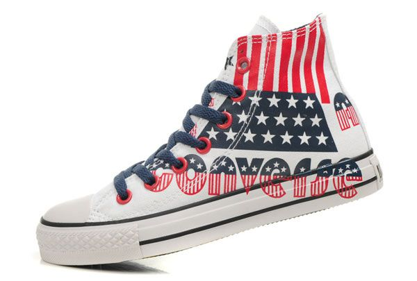 Converse, White canvas shoes, Red converse