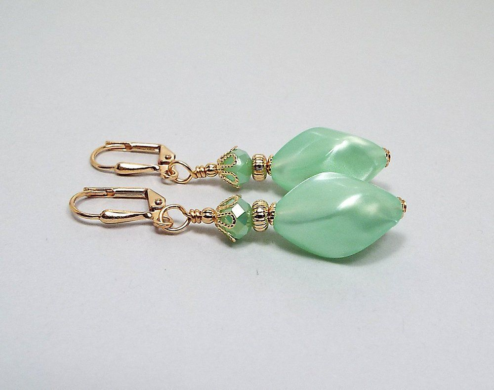 A PAIR OF GREEN JADE GOLD PLATED LEVERBACK HOOK EARRINGS NEW.
