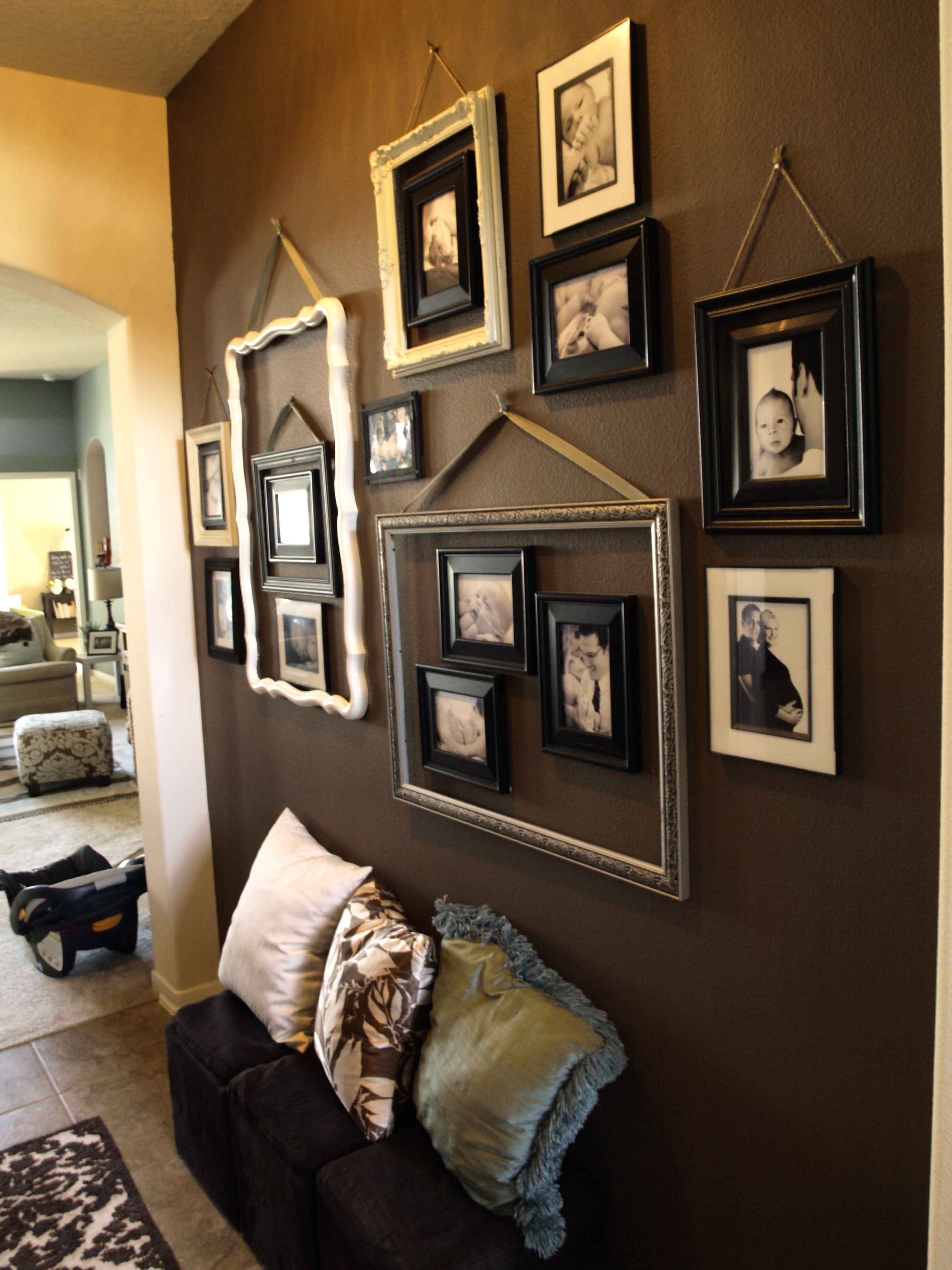 Image result for frames hung with ribbon Bent Pinterest