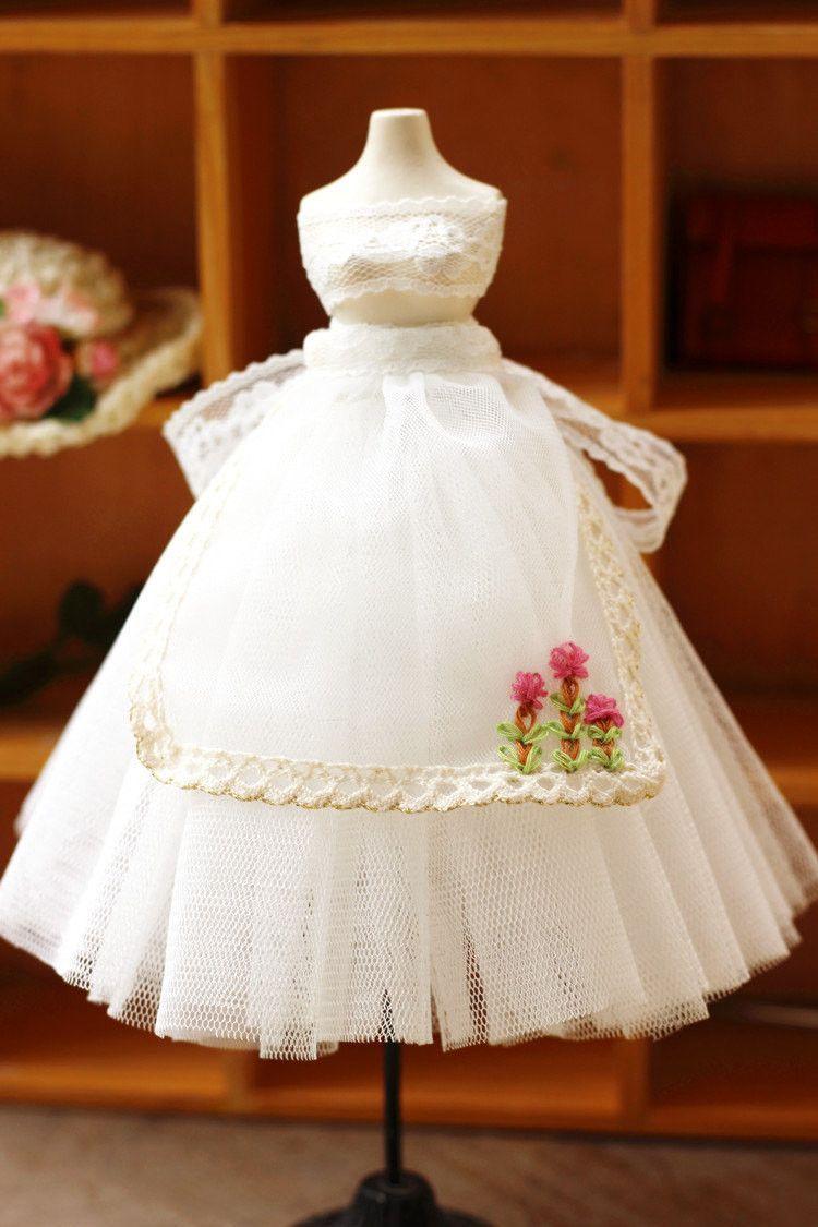 White lace apron wedding - Blythe White Lace Apron With Skirt Momoko Kurhn Doll Blythe