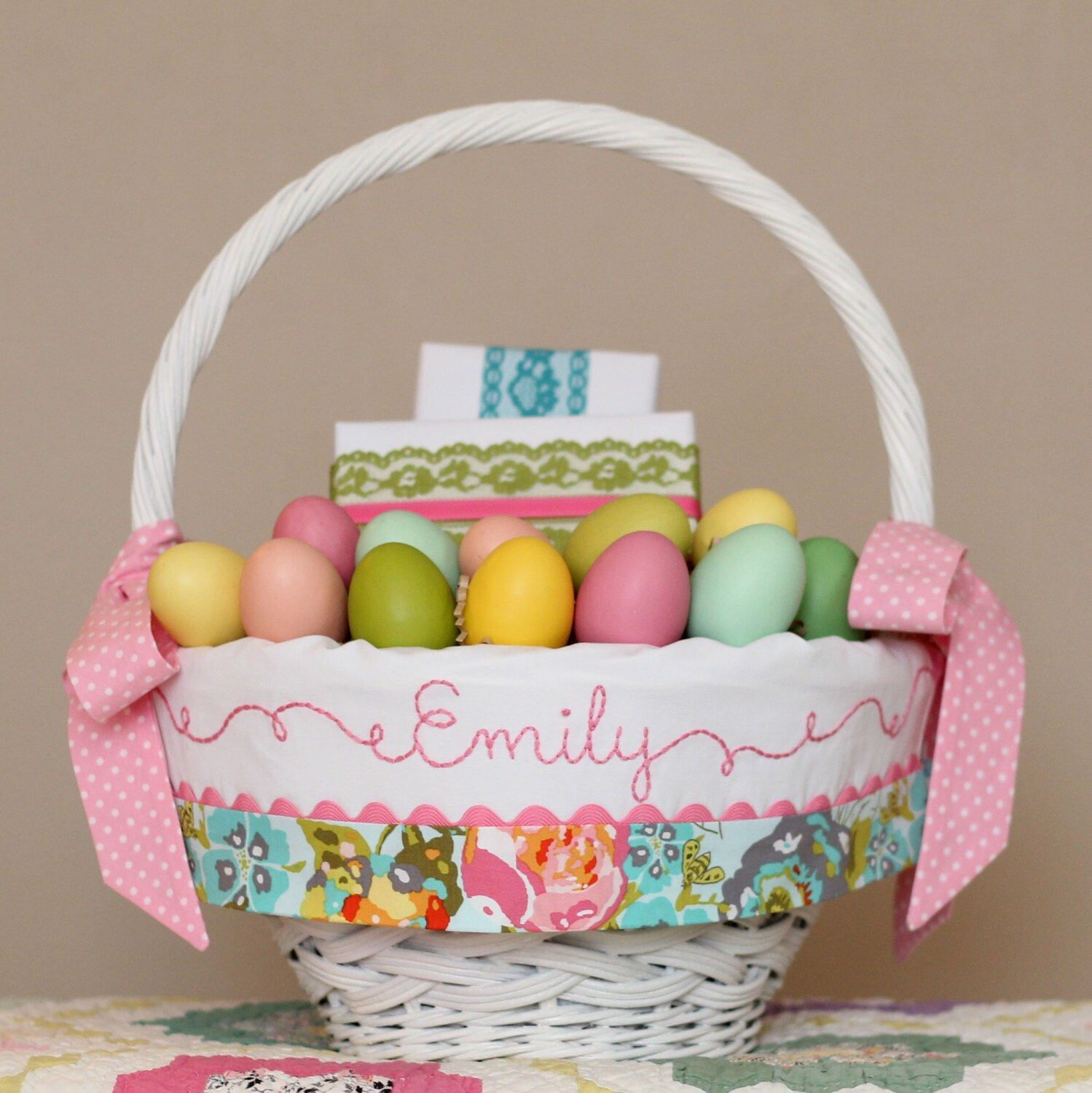 Easter basket liner girl fits pottery barn kids baskets easter basket liner girl fits pottery barn kids baskets monogrammed embroidered easter basket negle Images