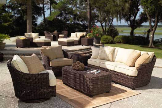 Thick Wicker Furniture Sets With Rounded Strands Patio Furniture