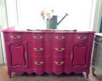 French Provincial Long Dresser / Server Painted in ...