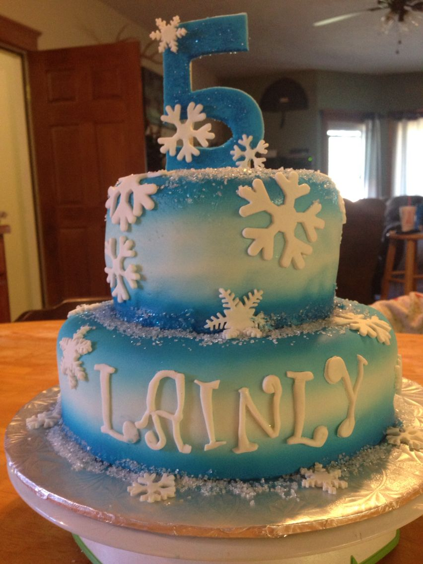 Front view Frozen ombré shaded cake