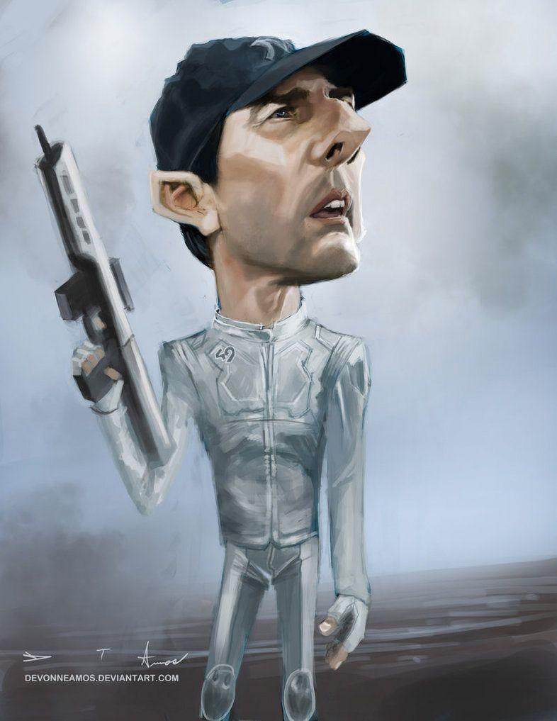 Caricatura de Tom Cruise en Oblivion