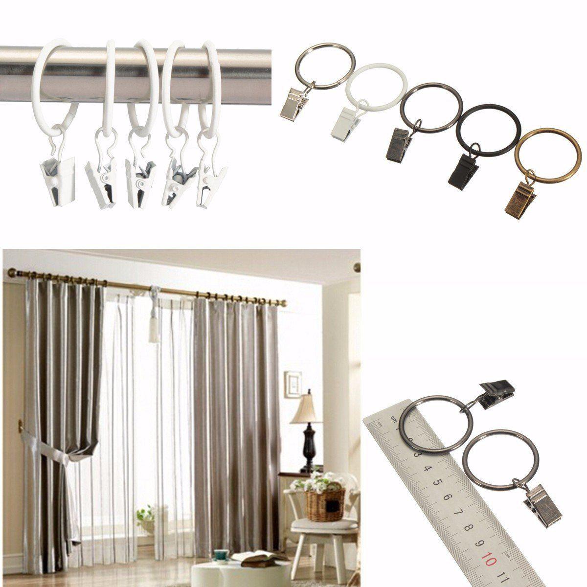 Pcs Metal Window Bathroom Curtain Clips Rings Pole Rod Voile