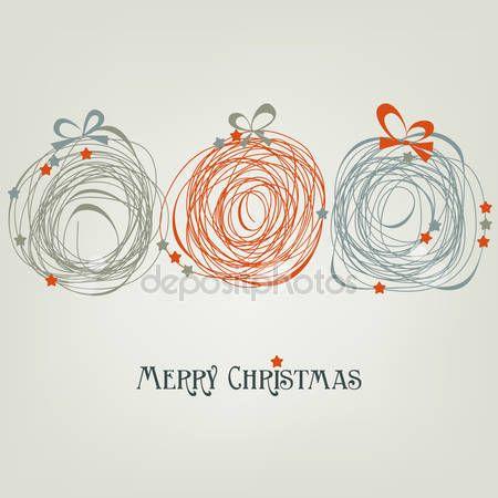Schattig Kerstkaart Abstracte Versieringen Kerst Christmas Cards