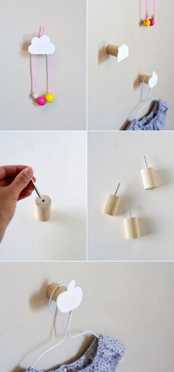 Kindergarderobe basteln - einfache Idee fürs moderne Kinderzimmer - moderne kinderzimmergestaltung idee
