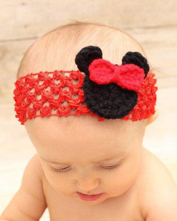 Crochet Minnie Mouse Red Headband, Stretch Fit, One Size Fits All ...