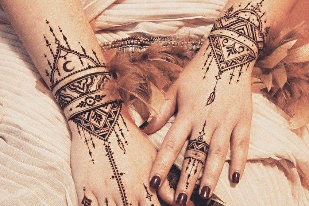 Tribecka Tribal Black Henna Boho Ethnic Hand Temporary Tattoo