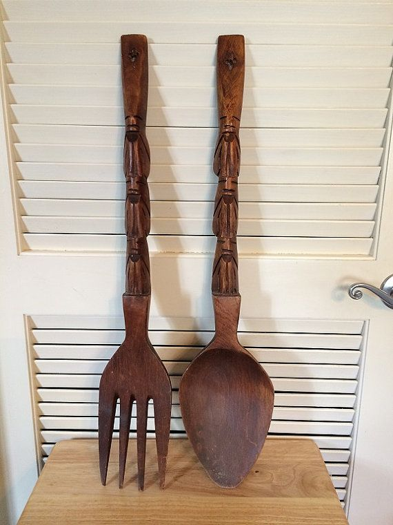 big wooden fork and spoon monkey pod carved by startathomevintage do u remember wooden fork. Black Bedroom Furniture Sets. Home Design Ideas