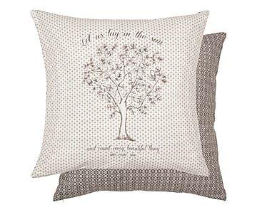 Cuscino in cotone tree bianco e marrone, 50x50 cm