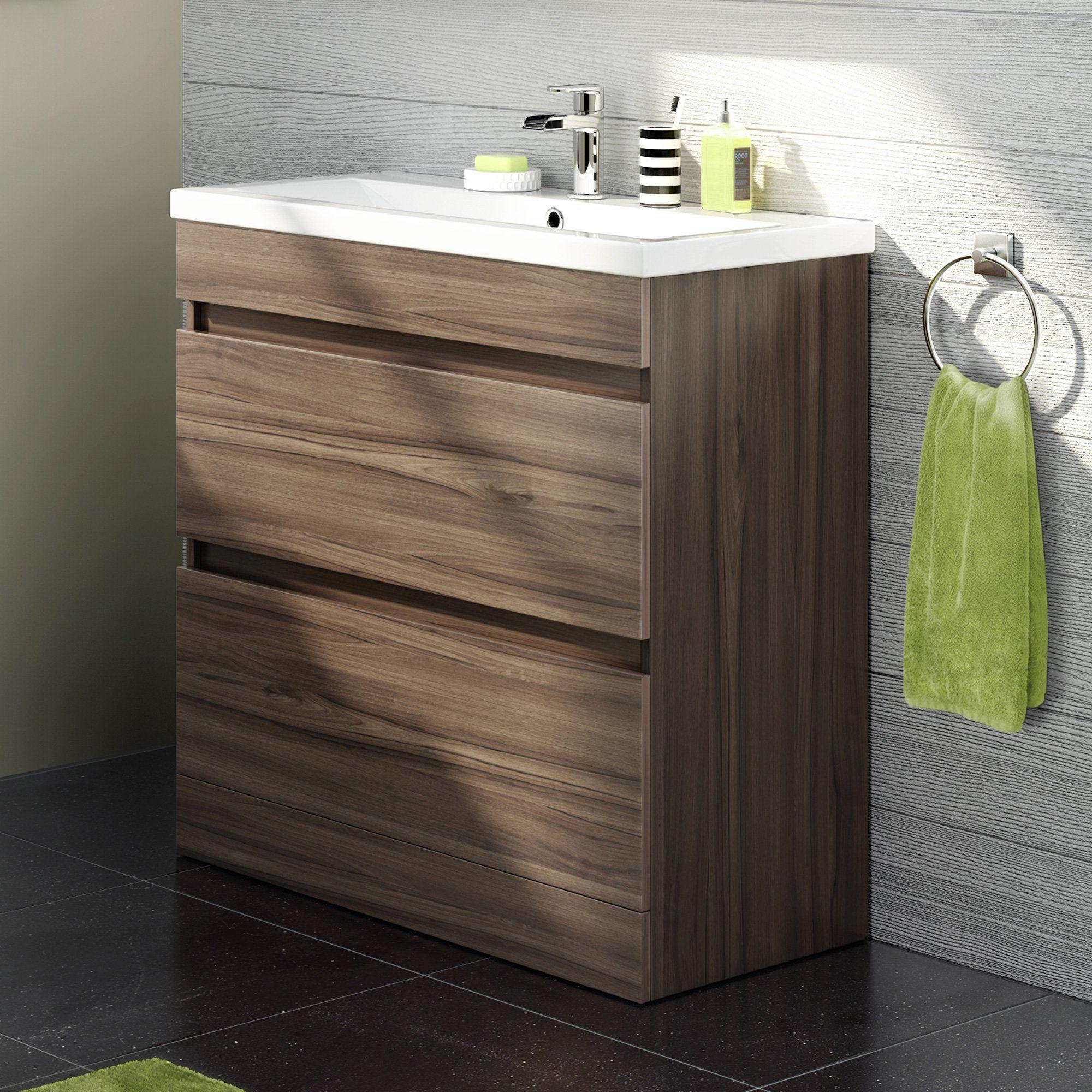 800mm Walnut Vanity Sink Unit Bathroom Basin Drawer Storage ...