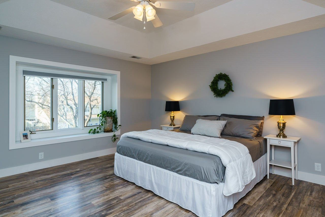 Master bedroom remodel before and after. What a difference some gray ...
