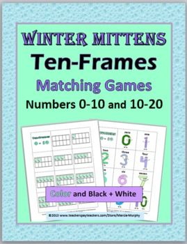 Ten Frame Number Cards Matching - Winter Theme - Numbers 0-20 ...