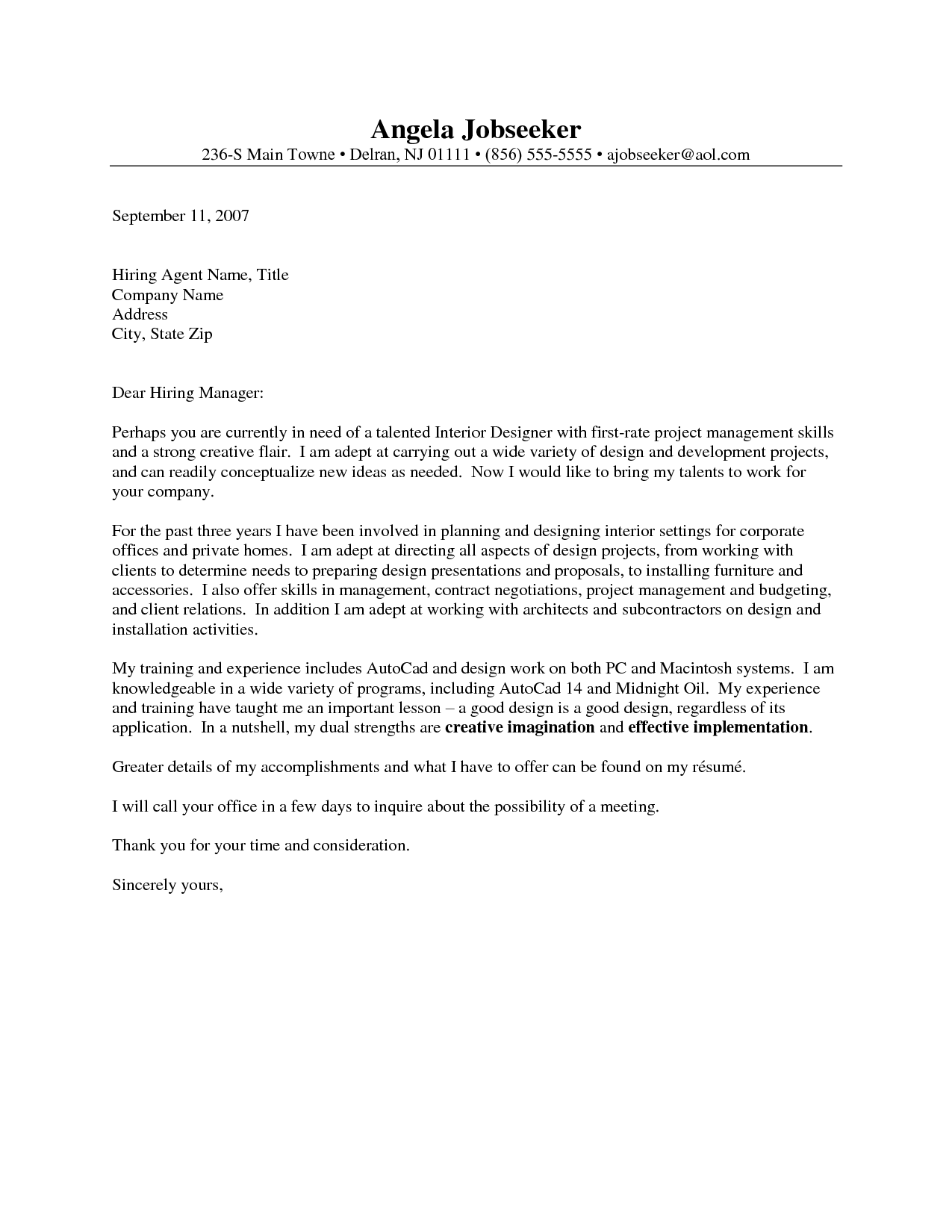 Outstanding cover letter examples interior design cover for Layout of cover letter for job application