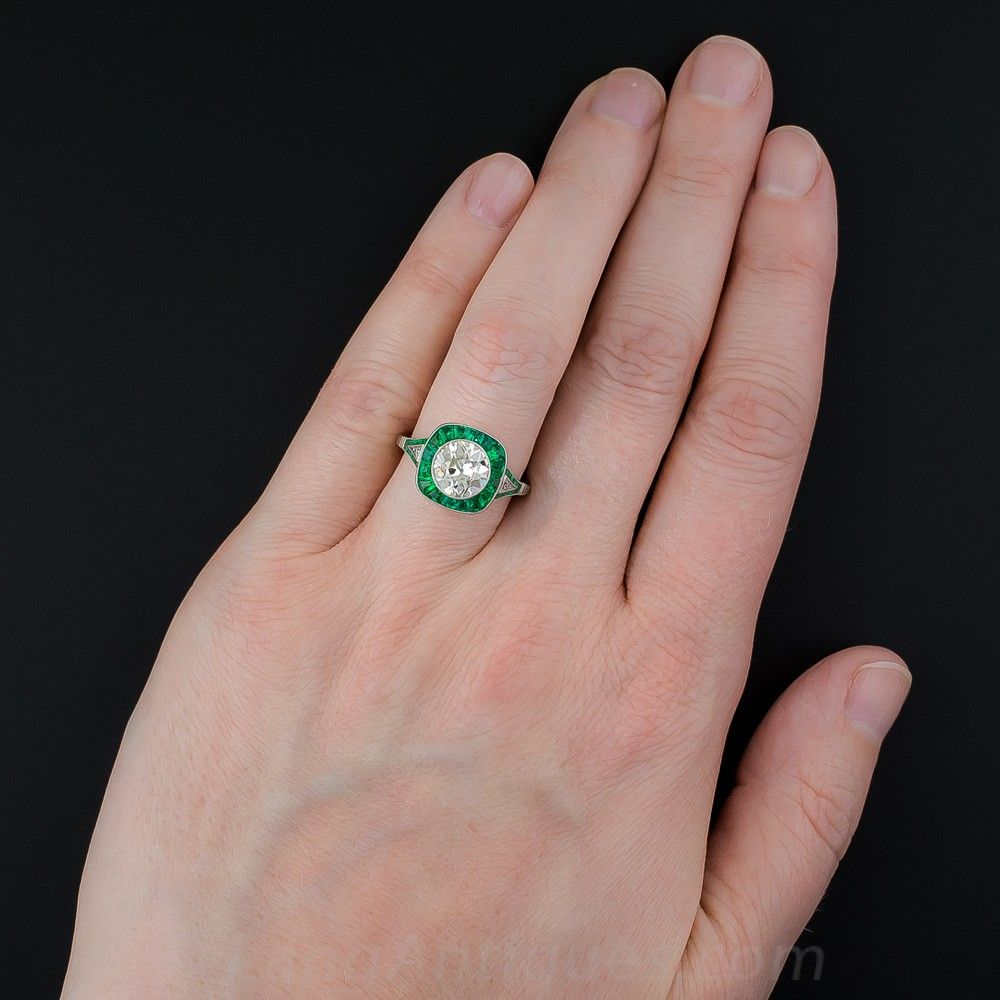 1.81 Carat Diamond and Emerald Art Deco Style Engagement Ring ...