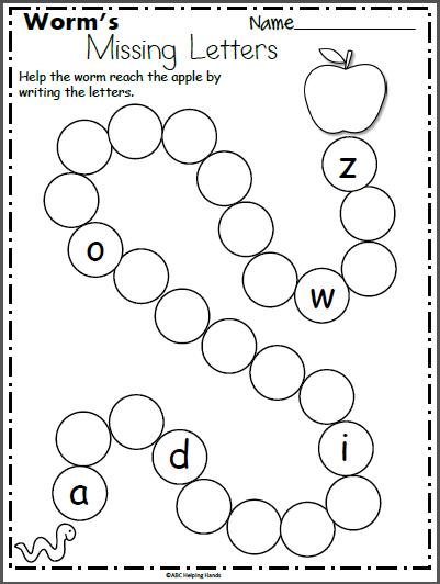 worms missing letters worksheet for kindergarten  kindergarten  worms missing letters worksheet for kindergarten