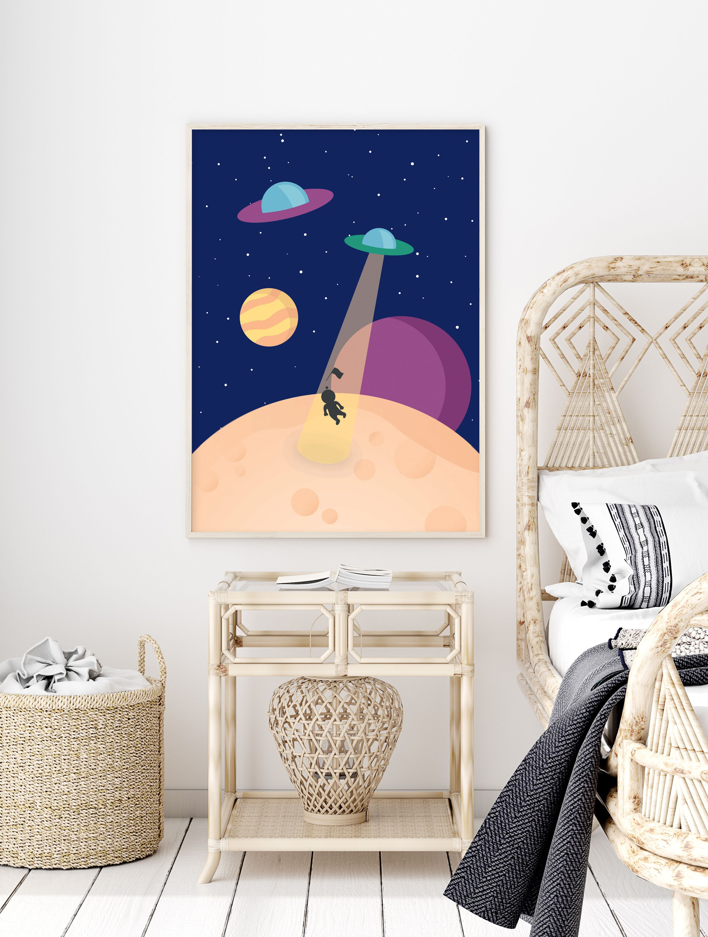 Astronaut Poster Print Illustration Space Home Decor Art Print