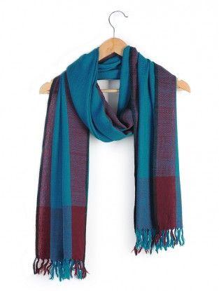 Blue Maroon Merino Wool Stole | Wool, Fashion