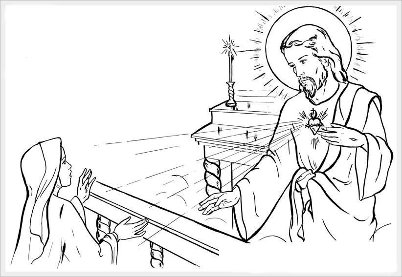 Saint Margaret Mary Alacoque / Sacred Heart Catholic Coloring Page ...