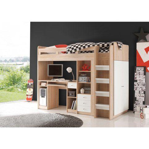 Ensemble lit mezzanine avec bureau + penderie + étagère - Décor
