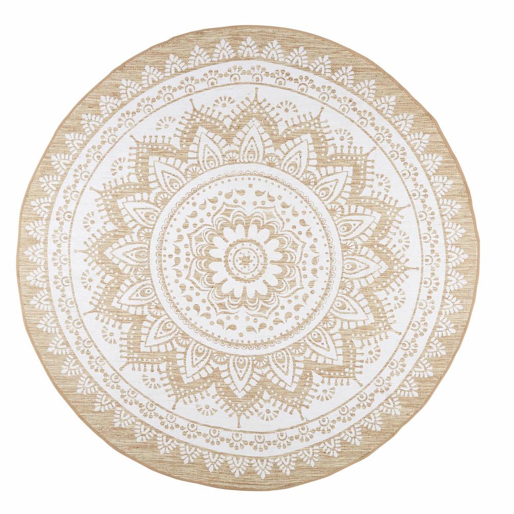 online here detailed pictures exclusive range Tapis en jute et coton blanc D.180cm ... | mandela | Jute ...