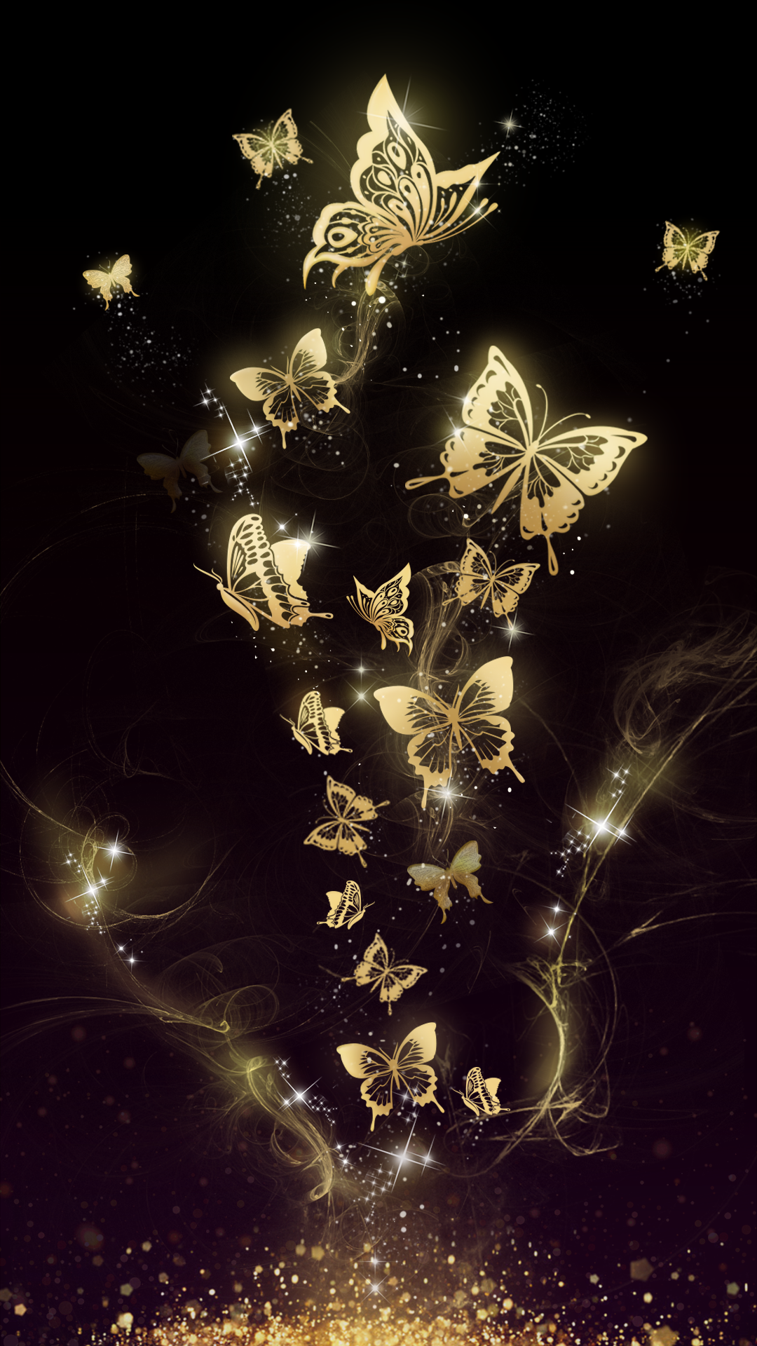 Beautiful golden butterfly live wallpaper! Android live