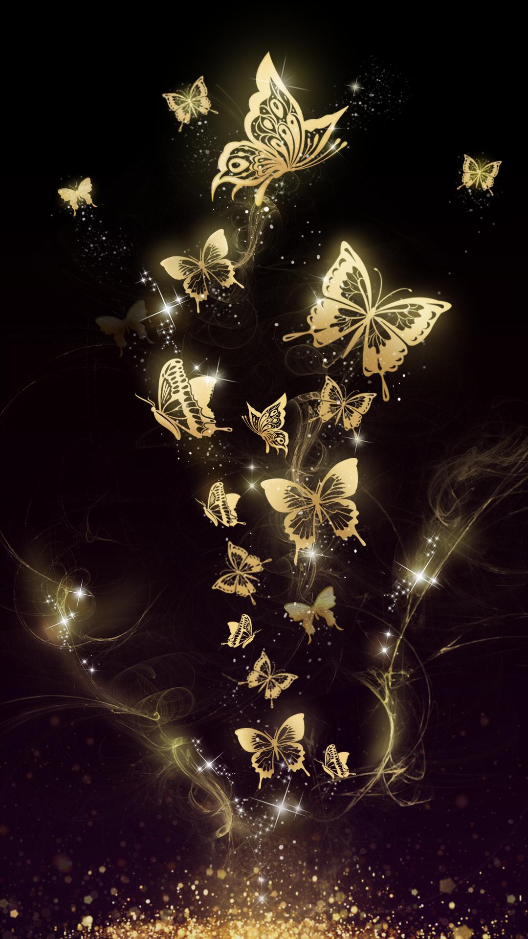 Home Screen Glitter Butterfly Wallpaper