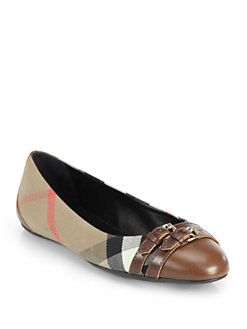 Burberry - Avonwick Leather & Canvas Ballet Flats