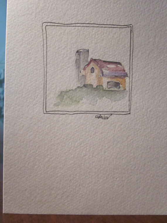 Farm Country Watercolor Card by gardenblooms
