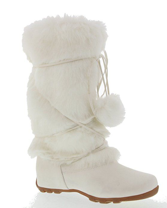 efb022825816 Women s Faux Fur Fashion Boot with Pom Poms White 7