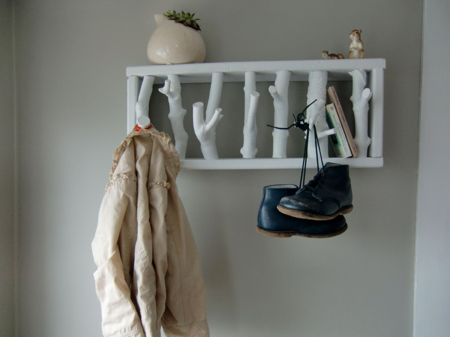 Creative Wall Coat Hook - Stylish Rustic White Wooden Hooks With The Treetop
