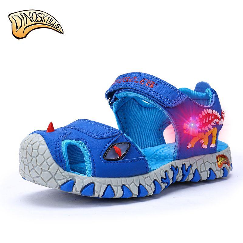 0753b0bede4a0 Dinoskulls Boys Sandals Closed Toe Glowing Sandals Kids Summer Shoes 2017  Children 3D Dinosaur Sandals LED Beach Shoes