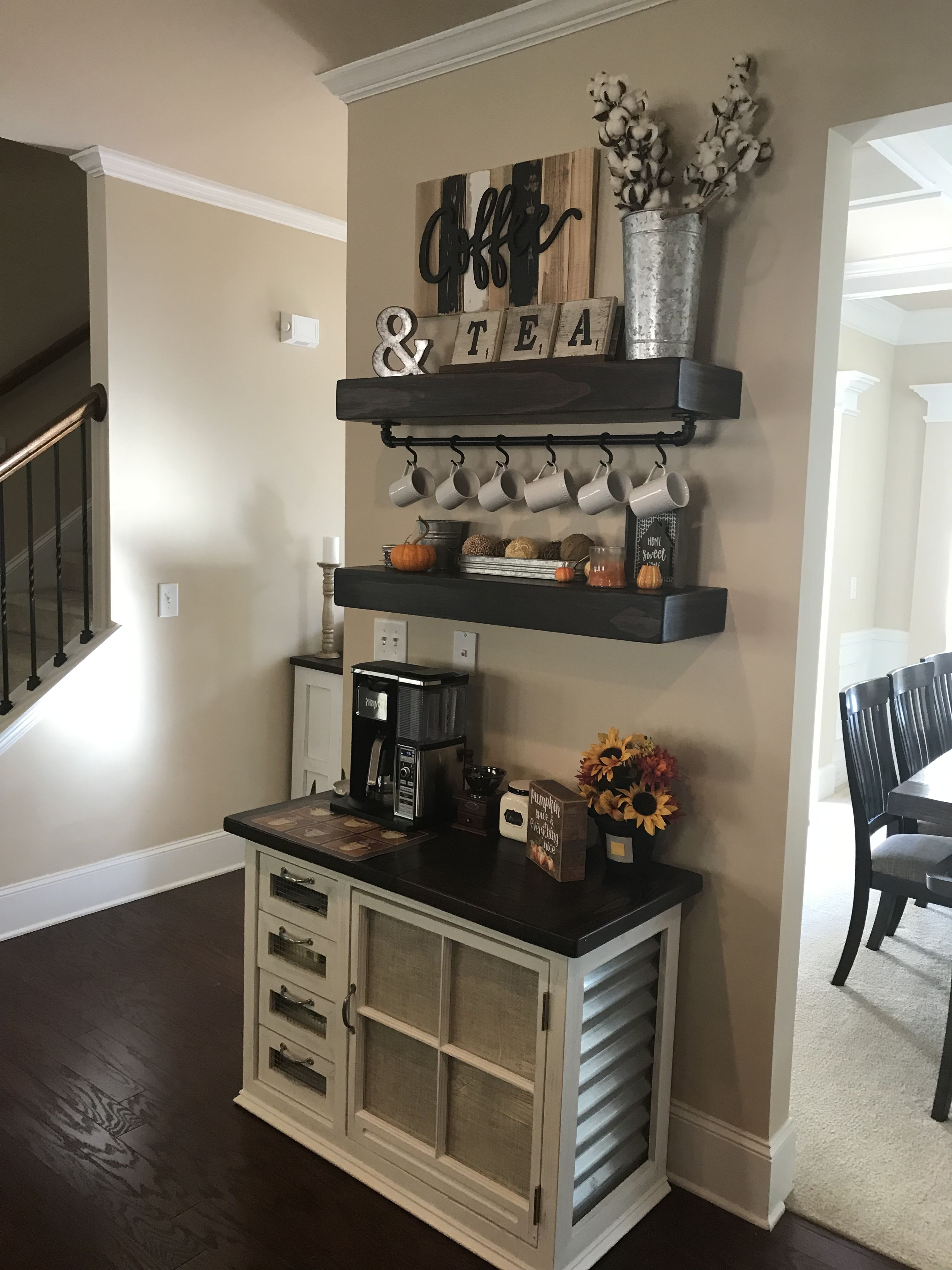 Farm house style coffee bar with floating shelves and