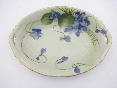antique hand-painted Nippon china, vintage porcelain bowl w/ violets ...