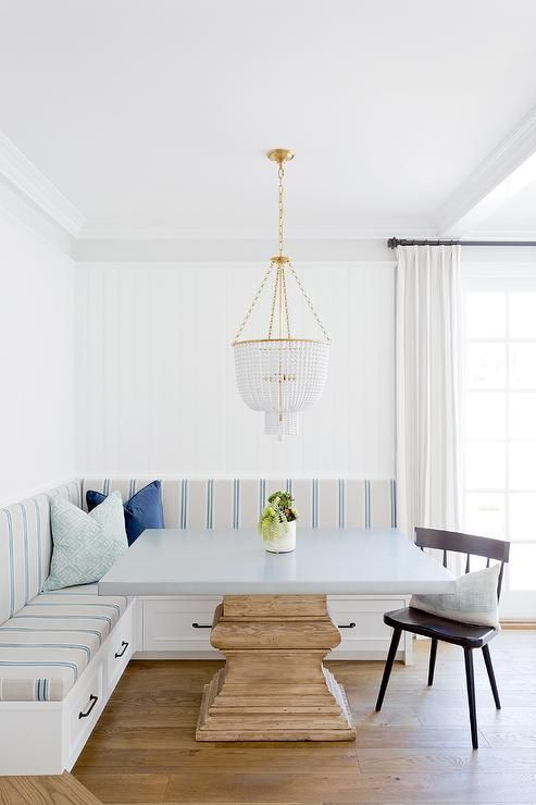 Beautifully Appointed Breakfast Nook Features An L Shaped Dining