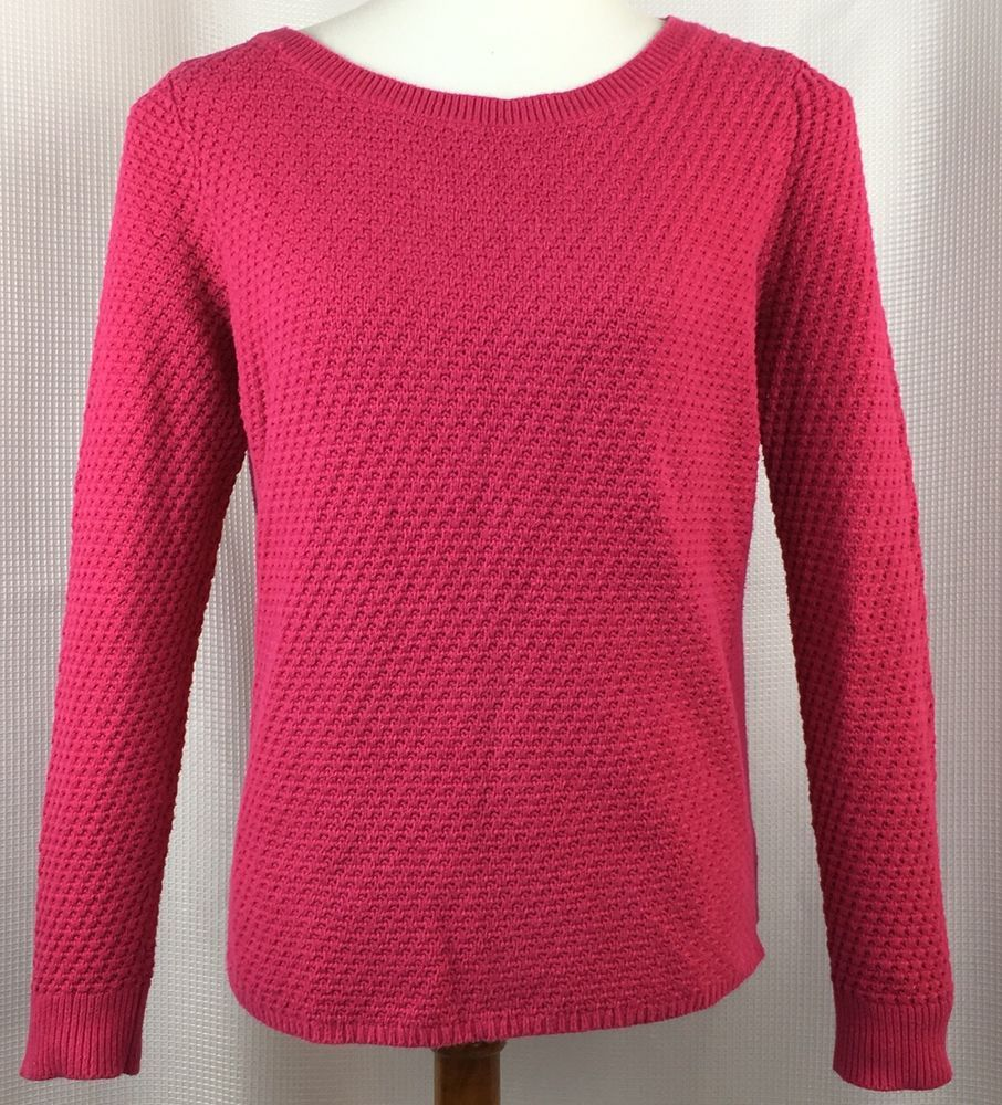 73599110e7f5 LL Bean Womens Waffle Knit Pullover Sweater Size Medium Petite 10-12 Pink  #LLBean #Crewneck #Work