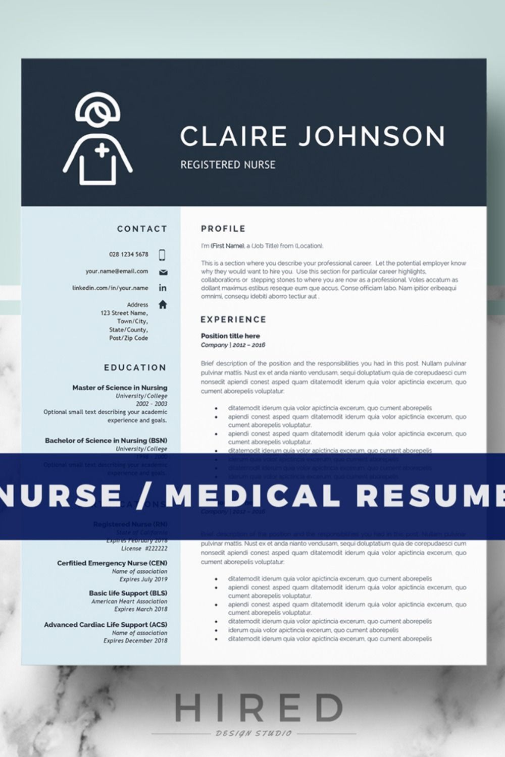 R16 CLAIRE JOHNSON Nurse Resume Template for Word