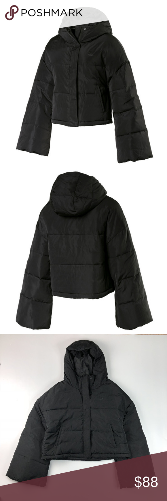 Puma Black Cropped Puffa Quilted Jacket NWT Medium New with